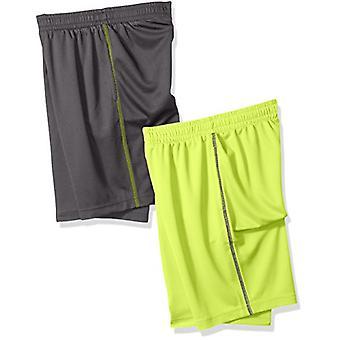 Essentials Big Boys' 2-Pack Mesh Short, Grigio/Lime, Medio
