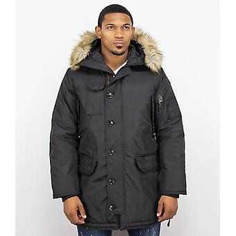 Winter coats - Winter coat Lang - Artificial collar - Parka JK - Black