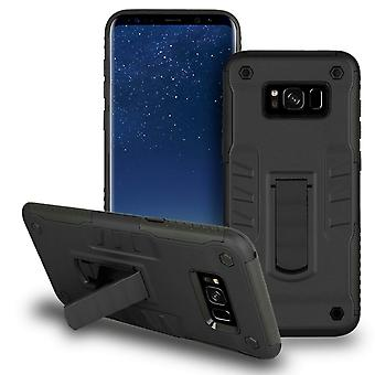 Shell with Kickstand for Samsung Galaxy S8 Hybrid Shockproof Outdoor Plastic Black
