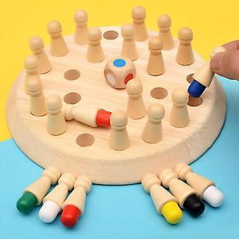 木製メモリマッチスティックとチェスゲーム教育色認知能力