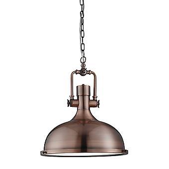 Searchlight Industrial - 1 Ljus Dome tak hängande Antik koppar med glas diffusor, E27