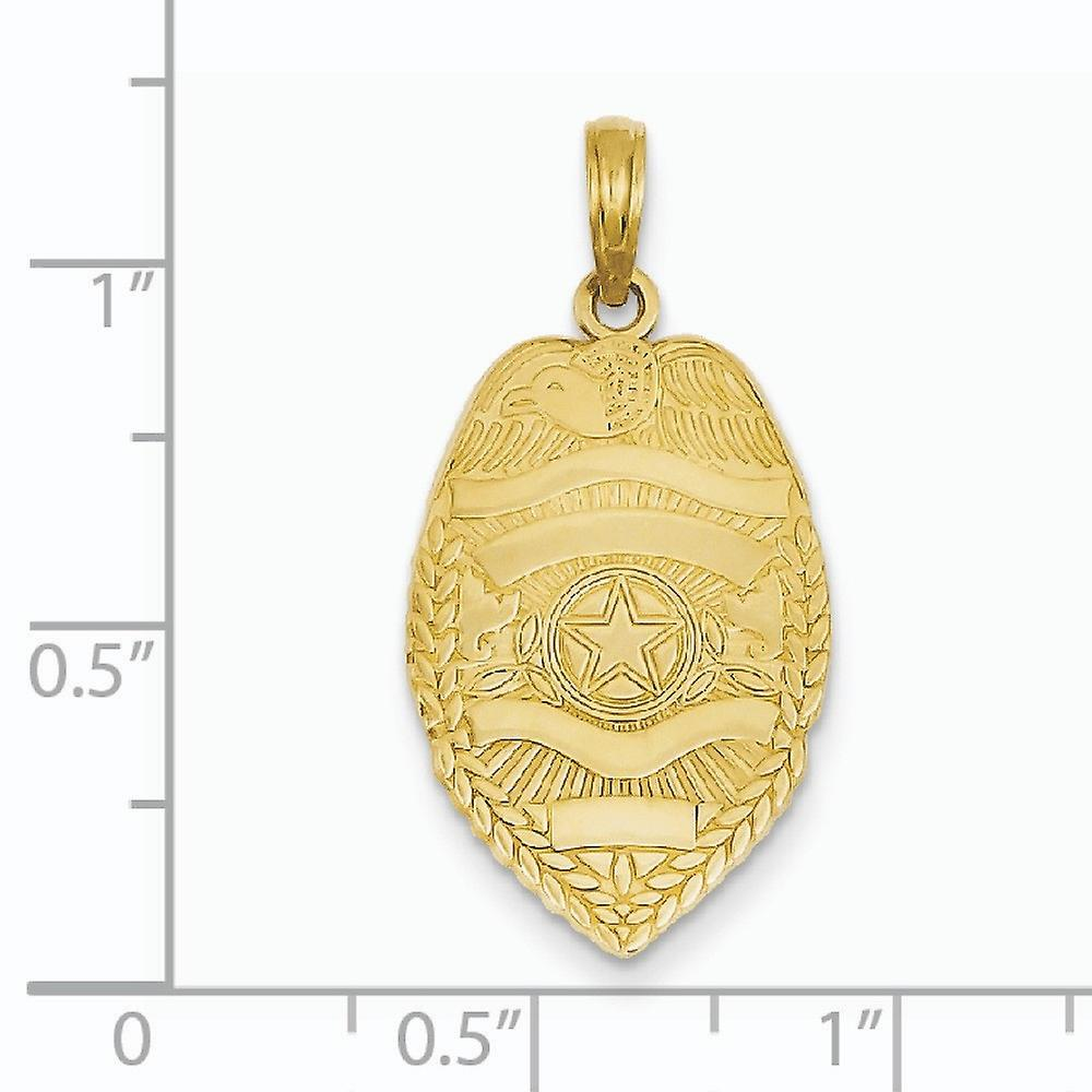 14k Yellow Gold Solid Textured back Not engraveable Polished Flat Backed Badge Pendant Necklace Measures 29x15mm Jewelry