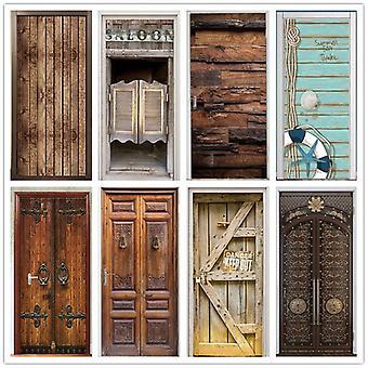 Retro drewniane drzwi Naklejki - Pvc Wodoodporne tapety do drzwi Salon Sypialnia Strona główna Wystrój Mural
