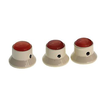 3PCS Red Gem Dome Knobs Cream Metal Guitar Knobs Volume Tone Control Parts