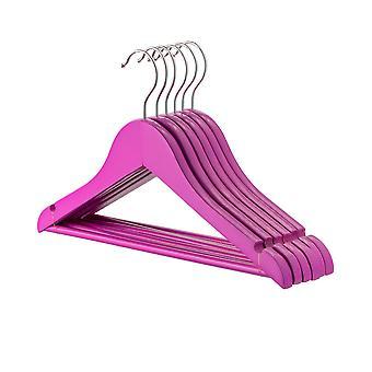 Purple Childrens Wooden Clothes / Coat Hanger / Hangers - Pack of 10