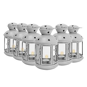 Nicola Spring Candle Lanterns Tealight Holders Metal Hanging Indoor Outdoor - 20cm - Grey - Set of 6