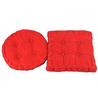 2pcs Corduroy Chair Seat Pad Filled Square and Round Ties Cushion Red 38 x 38cm