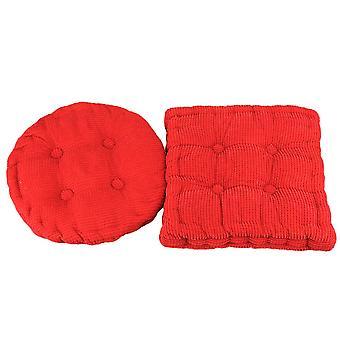 2szt Sztruks Krzesło Seat Pad Filled Kwadrat i Okrągłe Krawaty Poduszka Czerwony 38 x 38cm