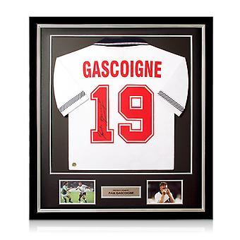 Paul Gascoigne signerte England 1990 skjorte. Deluxe ramme