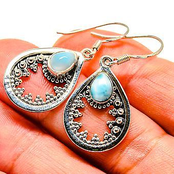 """Larimar Earrings 1 1/2"""" (925 Sterling Silver)  - Handmade Boho Vintage Jewelry EARR408025"""