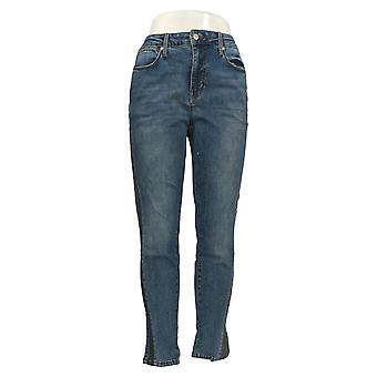 Colleen Lopez Women's Jeans Blue 28 Skinny Tuxedo Stripe 716-641