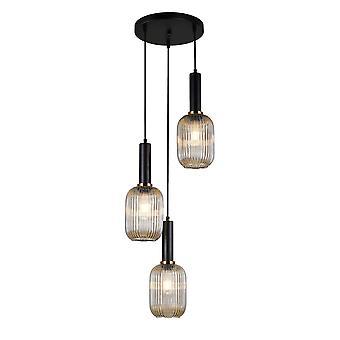 Italux Antiola - Moderno pendente appeso nero 3 luce con tonalità ambra, E27