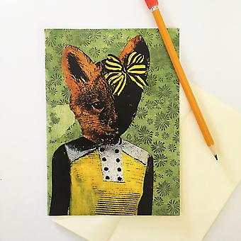 Fox With Yellow Bow Greeting Card