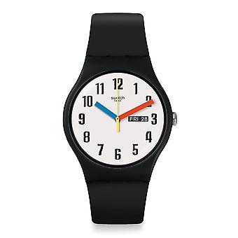 Swatch Suob728 elementar relógio de silicone preto