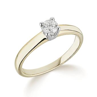 9K Yellow Gold Traditional Solid 4 Claw Setting 0.25Ct Certified Solitaire Diamond Engagement Ring