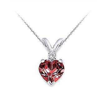 6MM Garnet & 0,02 Karat Diamond Hjärta hänge