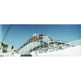 Low angle view of a rollercoaster Coney Island Cyclone Coney Island Brooklyn New York City New York State USA Poster Print