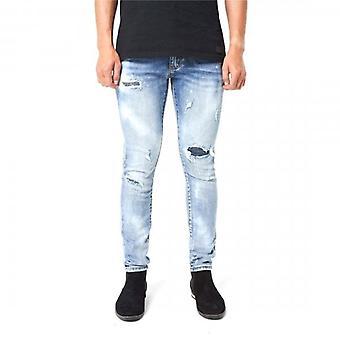 Amicci Cagliari Skinny Fit Stretch Lichtblauwe denim rip en gerepareerde jeans