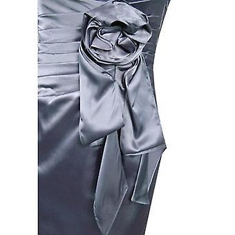 Bez ramínek Charmuese saténové šaty s nabíranou rozetovou stranou