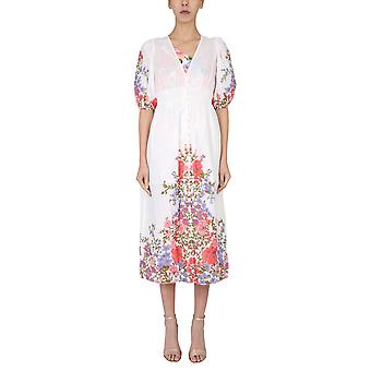 Zimmermann 9695dpopcmf Women's White Linen Dress