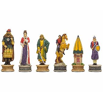 The Hungarians vs Turkish Hand painted themed chess pieces by Italfama