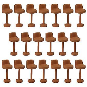 20PCS Miniaturowe 1:100 Meble Brązowe Krzesło do dekoracji wnętrz
