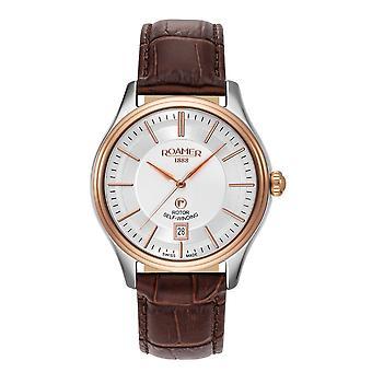 Roamer 703660 49 15 07 Rotopower Silver Tone Dial Brown Strap Wristwatch