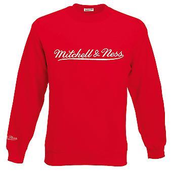 Mitchell & Ness Script Logo Red Crew Neck Sweatshirt Mens Pullover Jumper A39A