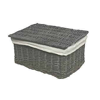 Lidded Wicker Storage Hamper Basket + Lining