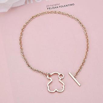 Simple Hollow Titanium Steel Bear Pendant Link Bracelet