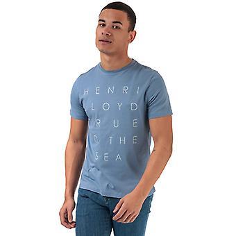 Men's Henri Lloyd Tryckt rund hals T-shirt i blått