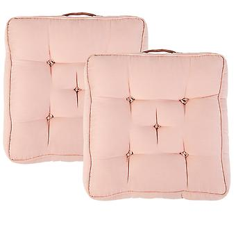 """Pink Pack of 2 Cotton Armchair Booster Cushion 4"""" Thick Seat Pad"""
