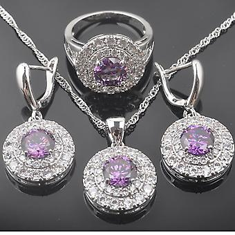 Russian Style Jewelry Sets, Natural Purple Crystals, Pendants, Necklace,
