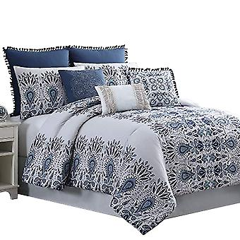 Constanta 8 Piece Queen Comforter Set With Floral Print The Urban Port,Blue And White