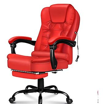 ELFORDSON Massage Office Chair with Footrest Executive Gaming Seat Leather Red