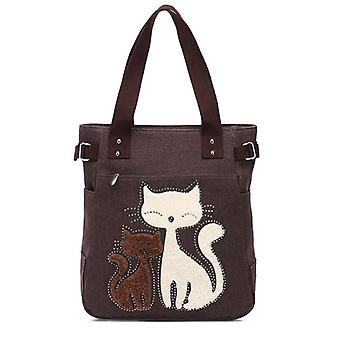 Elegant Cats Printed Women Canvas Tote Handbags