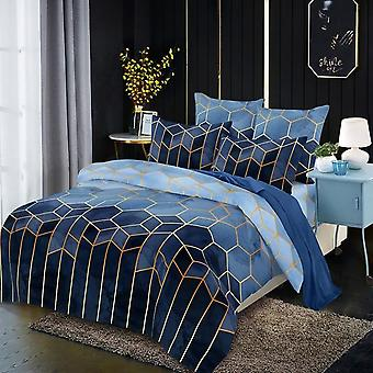 Minimalist Luxury Style Geometric Pattern Gilded Bedding Duvet Cover With