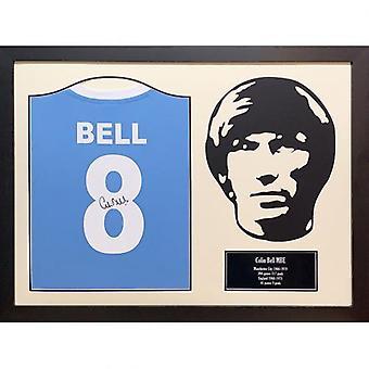 Manchester City Bell signerad skjorta silhuett