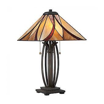 Lámpara Asheville, Bronce Y Vidrio Tiffany.
