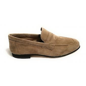 Shoes Men's Ancient Leather Shop Moccass classico Mod. Amalfi Suede Col. Stone Us18ac05