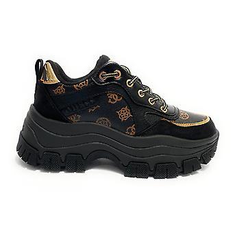 Shoes Women's Sneaker Guess Mod. Baryt Runner Wedge Fund Black Brown D21gu67