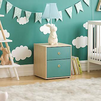 Neptune 2 Drawer Bedside Table Two-tone, Blue & Oak