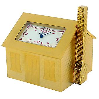 GTP Unisex Mini Furnished House Gold Plated on Solid Brass Novelty Desktop Collectors Miniature Clock IMP1011