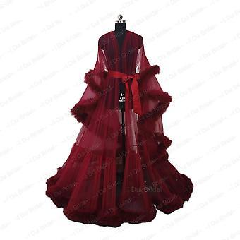 Royal Feather Bridal Robe Muslim Long Sleeve Masquerade Dance Dress Homecoming