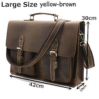 Top grade hommes masculins & s vintage real crazy horse leather briefcase messenger shoulder portfolio laptop bag case office handbag 1061