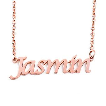 KL Jasmin - 18 karat ruusu kullattu kaulakoru, muokattavissa nimi, säädettävä ketju 16 - 19 cm