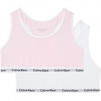 Calvin Klein Girls 2 Pack Moderni Puuvilla Bralette, Romanttinen Pinkki/PVH Valkoinen, 14-16 Vuotta