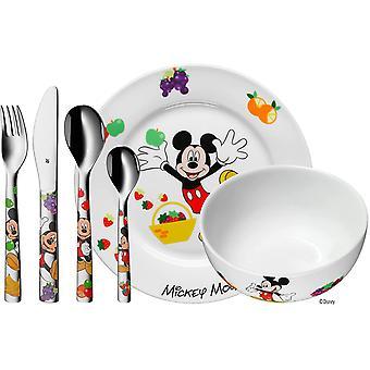 Disney Mickey Mouse Geschirrset 6-teilig, Kindergeschirr mit Kinderbesteck Edelstahl, ab 3