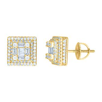925 Sterling Silver Yellow tone Mens Baguette/princess Cut Cubic zirconia Square Fashion Stud Earrin Jewelry Gifts for M