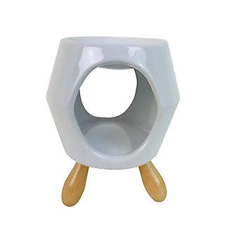 Abstrakter weißer Keramik-Ölbrenner mit Füßen